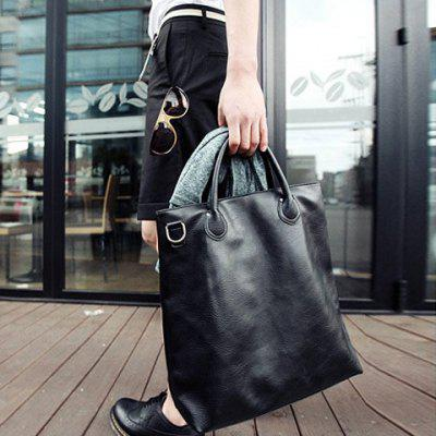 Street Style Black and PU Leather Design Men's Messenger Bag