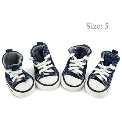 Puppy Blue Denim Pet Sport Boots with 2 Pairs