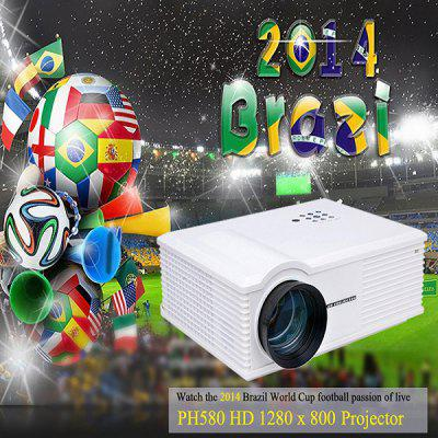 PH580 LCD 3200 Lumens 2000:1 Contrast LED Projector Support HDMI USB TV AV VGA  -  UK Plug