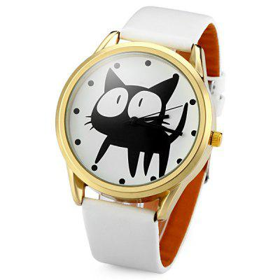 JUBAOLI 2108 Fashionable Watch Time Showed by 12 Dots with Cat Pattern Circular Dial Artificial Leather Watchband