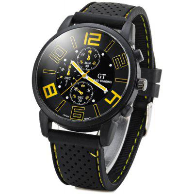 Buy YELLOW GT Sports Male Military Watch Analog Quartz Wristwatch Silicone Strap Round Dial for $8.93 in GearBest store