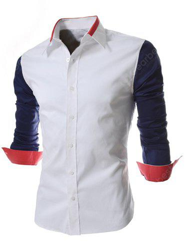 Fashion Style Turn-down Collar Color Splicing Slimming Long Sleeves Men's Polyester Shirt BLUE