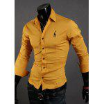 Buy Fashion Style Turn-down Collar Slimming Solid Color Fawn Embroidery Embellished Long Sleeves Men's Polyester Shirt 2XL YELLOW