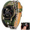 Cool Men Watch Analog Display with Flip Skull Head Round Dial Leather Watch Band - CAMOUFLAGE COLOR