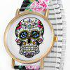 Women Quartz Watch Halloween Gift Analog with Skull Pattern Round Dial and Elastic Watch Band - BLACK