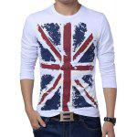 Buy Slimming Trendy Hit Color Flag Print Round Neck Long Sleeves Men's Cotton Blend Plus Size T-Shirt 2XL WHITE
