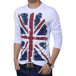 Buy Slimming Trendy Hit Color Flag Print Round Neck Long Sleeves Men's Cotton Blend Plus Size T-Shirt M WHITE