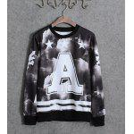 Buy Casual Style Round Neck Slimming Personality Starry Sky Print Long Sleeves Men's Cotton Blend Sweatshirt XL COLORMIX