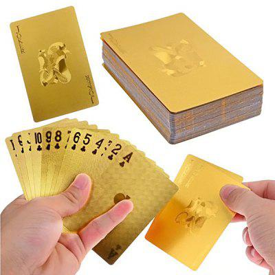 24K Gold Foil Poker Cards Deck Carta de Baralho for Amusement