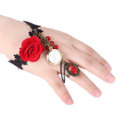Unique Female Ornament Rose Bracelet Quartz Watch with Ring Round Dial 12 Arabic Numbers Indicate