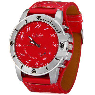 Kaladia 5902 Male Quartz Watch Time Showed by Arabic Numerals Round Dial and Leather Watch Band