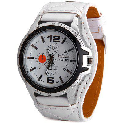 Kaladia 9585 - 1 Male Quartz Watch Time Showed by 2 Arabic Numerals + 10 Stripes Round Dial and Leather Watch Band