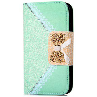 Artificial Leather and Plastic Material Bowknot and Retro Flower Design Cover Case with Card Holder and Stand for Samsung Galaxy S3 I9300