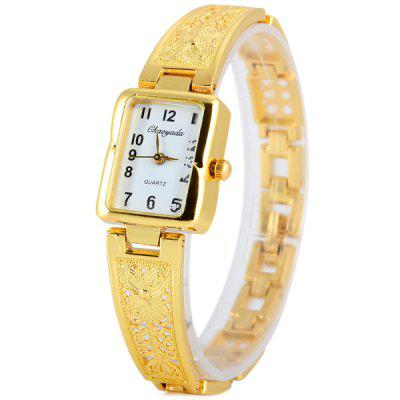 Chaoyada Fashional Ladies Quartz Chain Watch with Steel Watchband Rectangle Dial