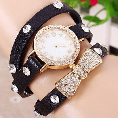 Female Quartz Wrist Chain Watch Leather watchband Round Dial