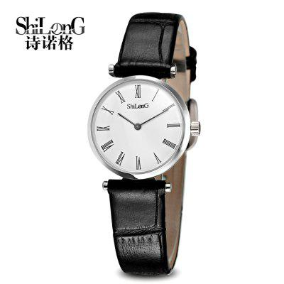 ShilonG 8047L Women Quartz Watch Japan Movt Sapphire Mirror Fine Steel Case Genuine Leather Watchband