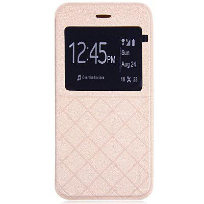 Artificial Leather and Plastic Material Grid Design Cover Case with View Window and Stand for iPhone 6