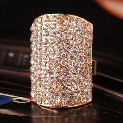 Stylish Rhinestone Embellished Geometric Cuff Ring For Women en Gearbest