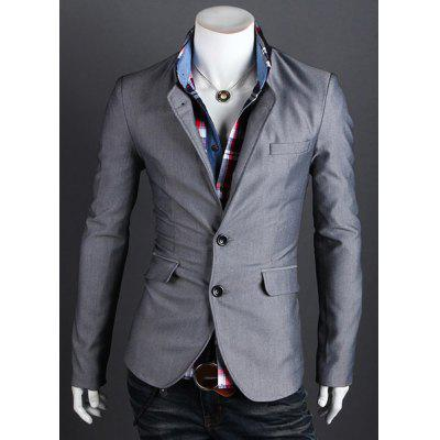 Fashion Style Personality Color Block Lapel Slimming Long Sleeves Men's Cotton Blend Blazer