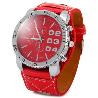 WOMAGE1091B Men Pointer Quartz Watch (PU Watchband + Stainless Steel Back + kulatý ciferník + Pin Buckle)