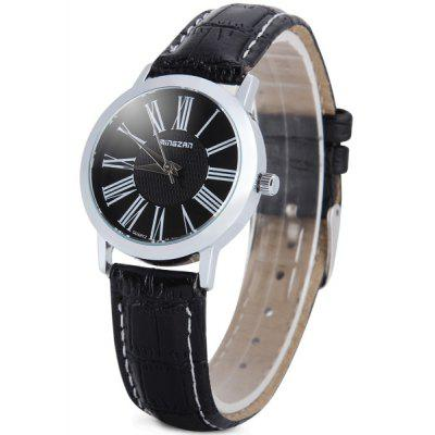 Mingzan m - 703 Lady Round Dial Quartz Watch With Genuine Leather Wrist Watch Band