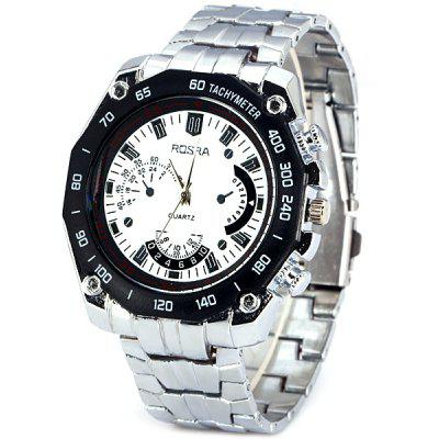 ROSRA D080 Male Quartz Watch Decorative Small Three Stitches Round Dial Steel Watchband