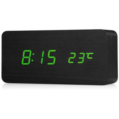 Novelty Rechargeable Green Light LED Rectangle Black Wooden Electronic Clock Alarm with Sound Control