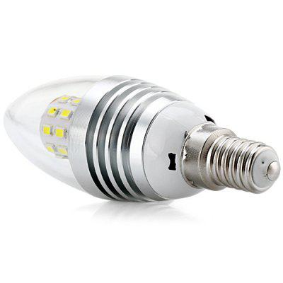 E14 SMD - 2835 x 25 LEDs 5W White Light LED Candle Light 480LM 85  -  265V (Silver Flame)Candle Bulbs<br>E14 SMD - 2835 x 25 LEDs 5W White Light LED Candle Light 480LM 85  -  265V (Silver Flame)<br><br>Appearance: Silver Flame<br>Available Light Color: Cold White<br>Bulb Base Type: E14<br>Emitter Type: SMD-2835 LED<br>Features: Energy Saving, Low Power Consumption, Long Life Expectancy<br>Function: Home Lighting, Studio and Exhibition Lighting, Commercial Lighting<br>Luminous Flux: 480LM<br>Output Power: 5W<br>Package Contents: 1 x LED Candle Bulb<br>Package size (L x W x H): 12 x 5 x 5 cm<br>Package weight: 0.1 kg<br>Product size (L x W x H): 10.5 x 2.5 x 2.5 cm / 4.13 x 0.98 x 0.98 inches<br>Product weight: 0.048 kg<br>Total Emitters: 25 LEDs<br>Type: Candle Bulbs<br>Voltage (V): AC85-265