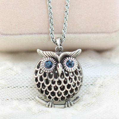 Buy SILVER Stylish Women's Rhinestone Owl Sweater Chain Necklace for $11.77 in GearBest store
