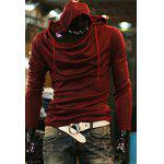 Buy Simple Style Slimming Hooded Solid Color Heaps Collar Design Long Sleeves Men's Cotton Blend Hoodies L WINE RED