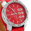 WOMAGE1091B Mannen Pointer quartz horloge (PU horlogeband + Stainless Steel Back + Ronde Dial + Pin Buckle) - ROOD