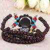 Female Wrist Quartz Watch Elastic Beads Wrist Band Round Dial Arabic Numerals Indicate - BROWN
