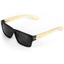 Fashionable Outdoor Sunglasses Wooden Legs Quadrate Frame Black PC Lens with Zippered Box only $10.67 with coupon