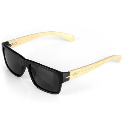 Fashionable Outdoor Sunglasses Wooden Legs Quadrate Frame Black PC Lens with Zippered Box