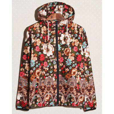 Colormix Bohemian Style Hooded Long Sleeves Personality Colorful Floral Print Zipper Design Men