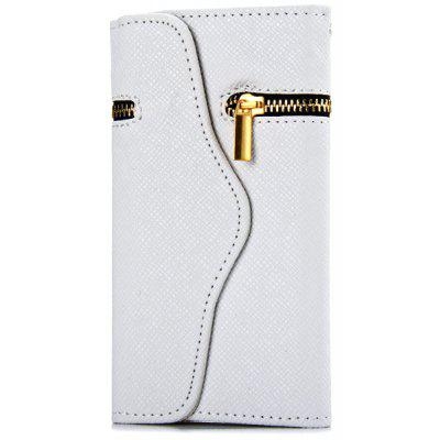 Zipper Design Artificial Leather and Plastic Material Cover Case with Card Holder for iPhone 6 4.7 inch Screen