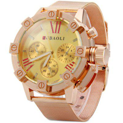 Jubaoli 1013 Male Quartz Watch Round Dial Decorative Non - functioning Sub - dials Steel Net Strap