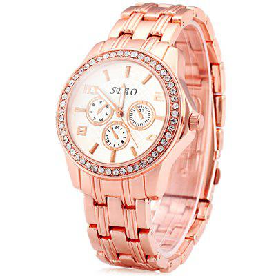 Sbao A102 Female Quartz Watch Decorative Non - functioning Sub - dials Round Dial Steel Wristband