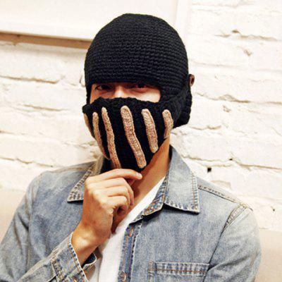 Characteristic Stripe Design Winter Crochet Detachable Mask Hat For Men