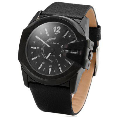 Cagarny 6838 Black Case Quartz Watch with Leather Strap and Blue Numbers Strips for Men