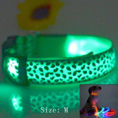 Sexy Leopard Print LED Collar 2.5cm Wide Glow Flashing Puppy Necklace Pet Decorative Props ( 38  -  50cm Adjustable Extent )