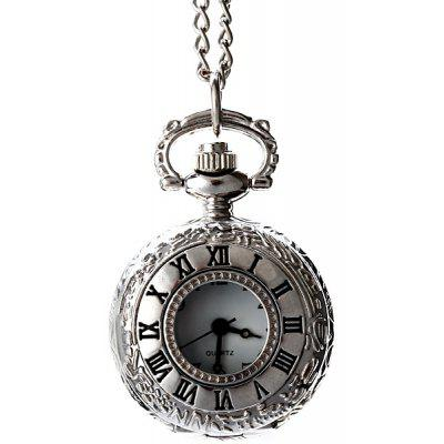 Flip Quartz Pocket Watch Steel Chain Necklace
