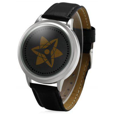 HZ2001 LED Watch Flash LED Touch Screen Genuine Leather Strap for Men and Women