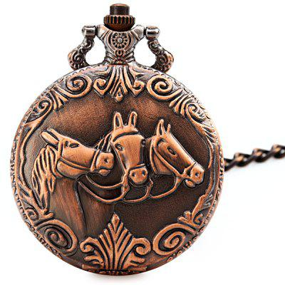 Horse Face Flip Quartz Pocket Watch Round Dial for Men