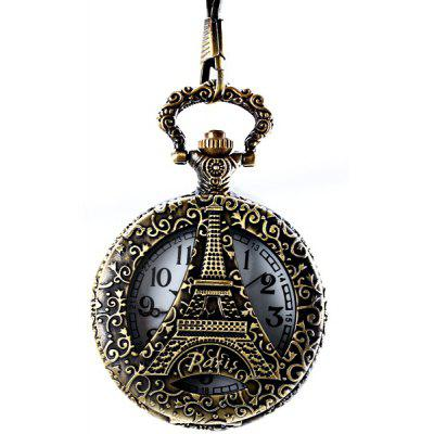 Paris Tower Flip Quartz Pocket Watch Round Dial for Men