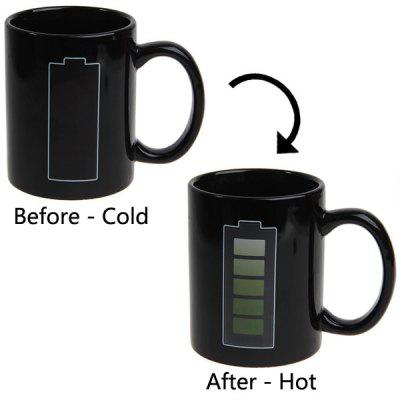 Battery Level Color Changing Heat Sensitive Coffee Cup Mug (Black)