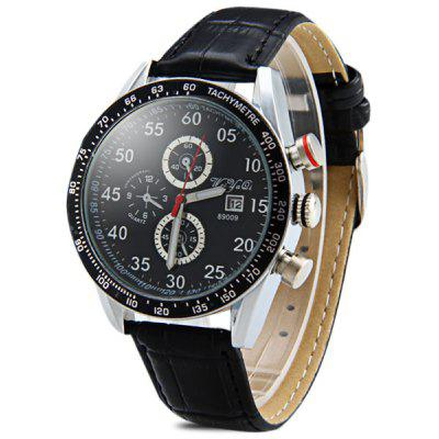 WeiyaQi 89009 Male Quartz Watch Round Dial Day Decorative Non - functioning Sub - dials Leather Strap