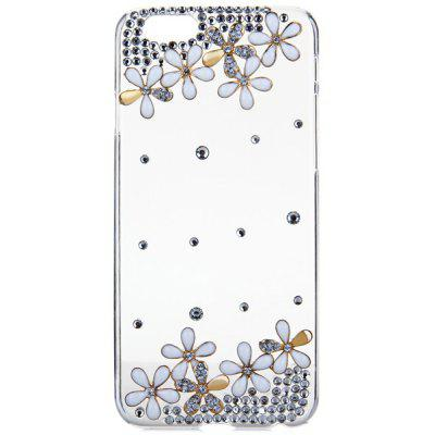 Fashionable Transparent Plastic Material Back Cover Case with Ten Flowers Pattern and Diamond Design for iPhone 6 4.7 inch Screen