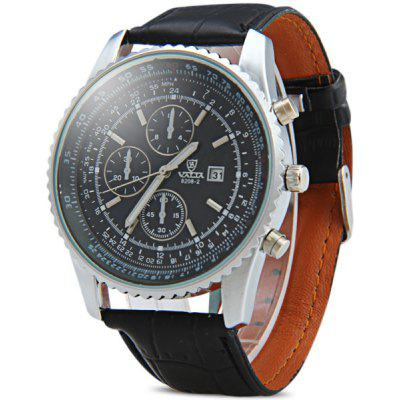 Valia 8208 - 2 Male Quartz Watch Round Dial Decorative Non - functioning Sub - dials Day Genuine Leather Strap