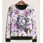 Buy Casual Style Round Neck Long Sleeves Personality Antigas Mask Floral Print Slimming Men's Cotton Sweatshirt 2XL COLORMIX